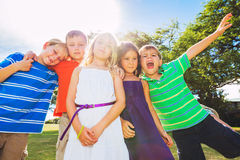 Happy Group of Young Kids Royalty Free Stock Photo