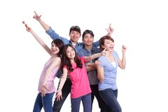Happy group young people. Isolated on white background, asian Stock Photo