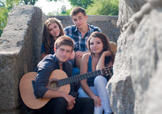 Happy group of Young people outdoors Stock Photography