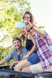 Happy group of young people takes a selfie Stock Image