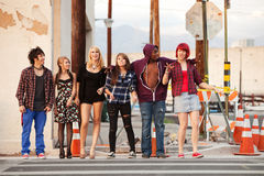 Happy group of young punks walking together Stock Photography