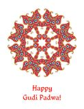 Happy Gudi Padwa - beautiful card. Indian lunar new year`s Day. Vector illustration Stock Photo