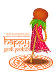 Happy Gudi Padwa. Hindu New Year celebrated. On the first day of the Chaitra month. Vector illustration for Gudi Padwa and Ugadi Stock Photo