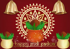 Happy Gudi Padwa. Kalash for Gudi Padwa and Ugadi. Happy Gudi Padwa. Festive red background with golden Kalash, golden Rongali and golden bells for Gudi Padwa Royalty Free Stock Image