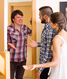 Happy guest saying hello stock photography