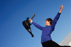 Happy guitarist Stock Image