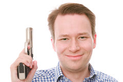 Happy gun owner Stock Photography