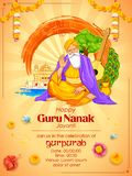 Happy Gurpurab, Guru Nanak Jayanti festival of Sikh celebration background. Illustration of Happy Gurpurab, Guru Nanak Jayanti festival of Sikh celebration Stock Photos
