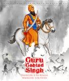 Happy Guru Gobind Singh Jayanti festival for Sikh celebration background Stock Photos
