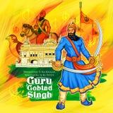 Happy Guru Gobind Singh Jayanti festival for Sikh celebration background Royalty Free Stock Image
