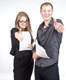 Happy guy and business woman Stock Photo