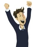 Happy guy cheering. With his hands in the air Stock Image