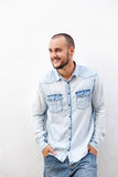 Happy guy in denim clothing Royalty Free Stock Photography