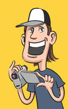 Happy guy with digital video camera. Vector illustration of happy guy with digital video camera Royalty Free Stock Images