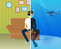 Happy guy is doing scuba diving in virtual reality. Happy guy is sitting at home and doing scuba diving using head-mounted device for virtual reality Royalty Free Stock Photography