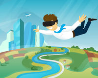 Happy guy is flying in virtual reality Stock Photography