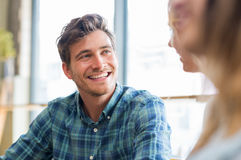 Happy guy with friend Royalty Free Stock Images