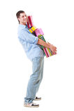Happy guy with gift boxes Royalty Free Stock Photo