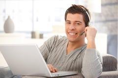 Happy guy with headset Stock Photos