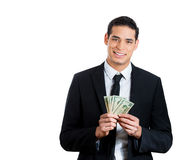 Happy guy holding greenbacks, cash Royalty Free Stock Photo
