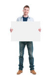 Happy guy holding placard Stock Images