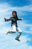 Happy guy jumping Stock Photo