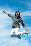 Happy guy jumping Royalty Free Stock Images