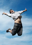 Happy guy jumping Royalty Free Stock Photography
