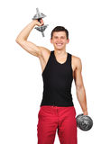 Happy guy lifting dumbbell Royalty Free Stock Photos