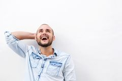 Happy guy looking up Stock Image