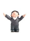 Happy guy made of clay raising his arms Royalty Free Stock Photo
