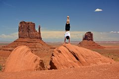 Happy guy in Monument Valley Royalty Free Stock Photo