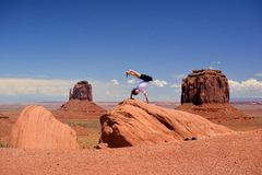 Happy guy in Monument Valley Stock Photos