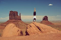 Happy guy in Monument Valley Royalty Free Stock Images