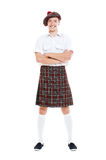 Happy guy in national scotch clothes Royalty Free Stock Photo