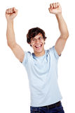 Happy guy with raised fists Royalty Free Stock Images