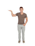 Happy guy showing the height of something with his hand Stock Photography