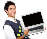 Happy guy showing laptop Stock Images