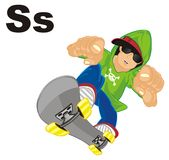 Boy with letters and skate. Happy guy on skateboard with two black letters s Vector Illustration