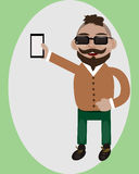 Happy guy with smartphone. Smiled young guy holding smart-phone in his hand and smiling Royalty Free Stock Photos