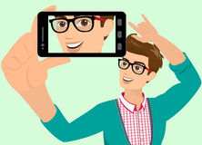Happy guy is taking selfie. Vector illustration of guy taking a self snapshot. Contains EPS10 and high-resolution JPEG Royalty Free Stock Photo