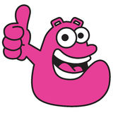 Happy guy with thumbs up. A bubbly character who looks positively at life. His slogan is simple: Make the world happier Royalty Free Stock Images