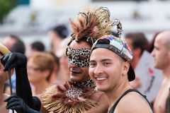 Happy guys during  Gay pride parade Royalty Free Stock Images