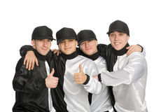 Happy guys shows thumbs sign okay Stock Photography