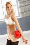 Happy gymnast with ball Royalty Free Stock Images