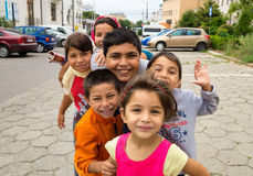 Happy gypsy children in the Old Town of Constanta Royalty Free Stock Photo