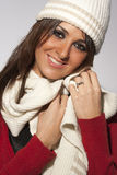 Happy hairstyle model woman winter wool clothes Royalty Free Stock Images