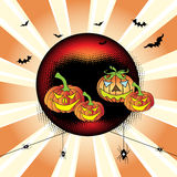 Happy Halloween. Abstract colorful illustration with red sphere, small bats, spiders and colorful evil pumpkins. Halloween concept Stock Photo