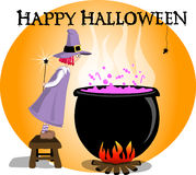 Happy Halloween. Little witch cooking sweet potion in the caldron Royalty Free Stock Photo