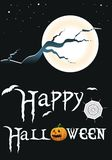 Happy Halloween. Background representing Halloween with a moon,stars and Happy Halloween text vector illustration